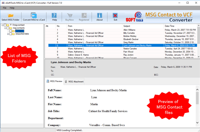 eSoftTools MSG to vCard Converter