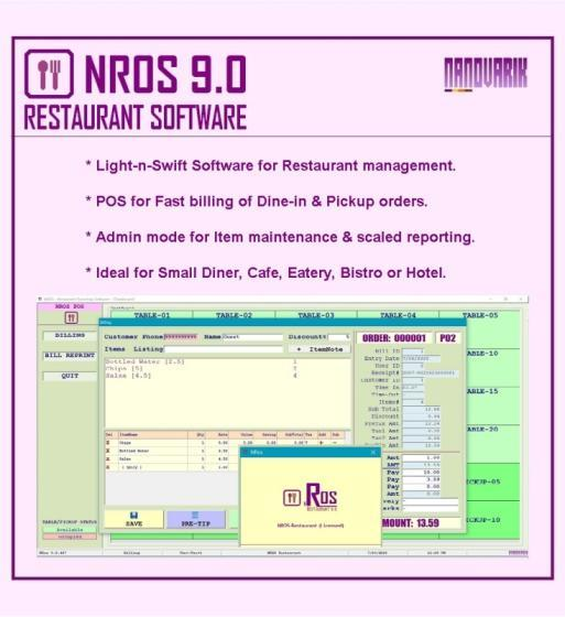 NRos Restaurant POS Billing Software