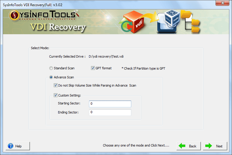 SysInfo VDI File Recovery Software