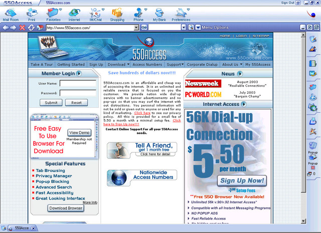 550 Access Browser