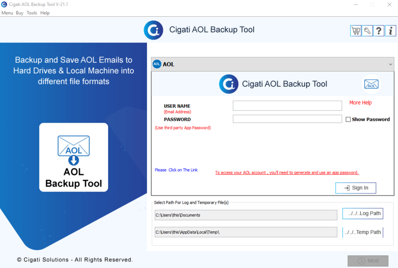 Cigati AOL Backup Tool