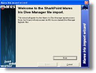 Mares Manager logbook Import for SharkPoint for Windows