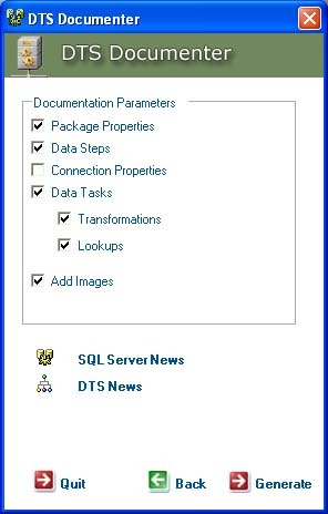 Dts Documentation Generator for SQL Server 2000. Document your DTS Packages.