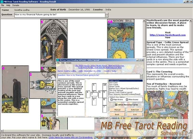 MB Tarot Reading Software