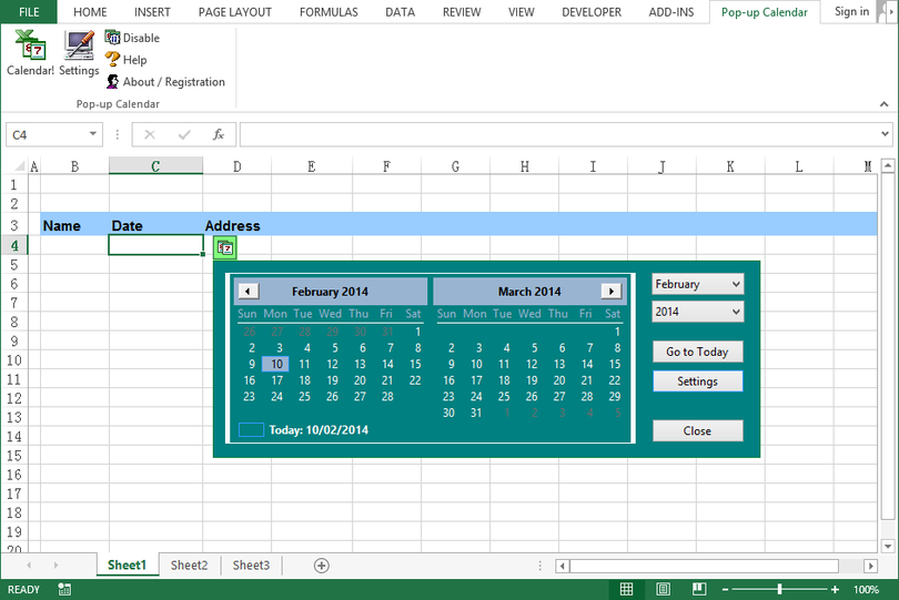 Pop-up Excel Calendar / Excel Date Picke
