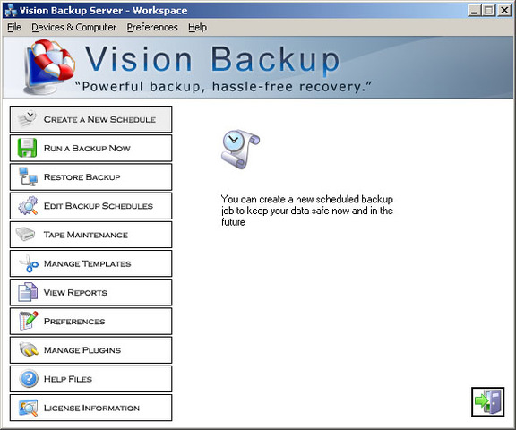 Vision Backup Server w/ MSSQL and Exchan