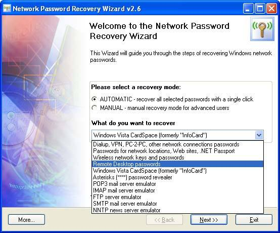 Network Password Recovery Wizard