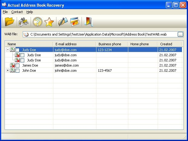 Actual Address Book Recovery