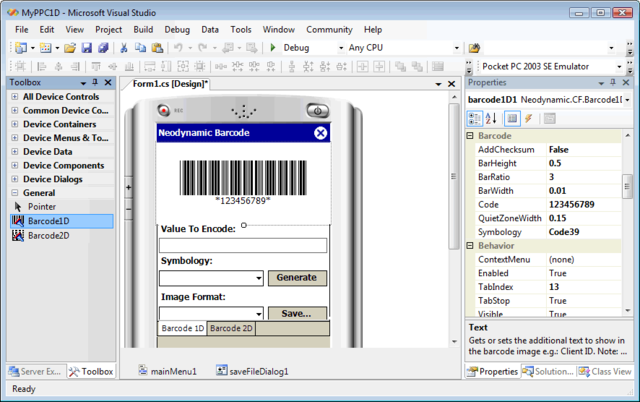 Barcode Professional for .NET Compact Framework