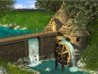 Watermill by Waterfall