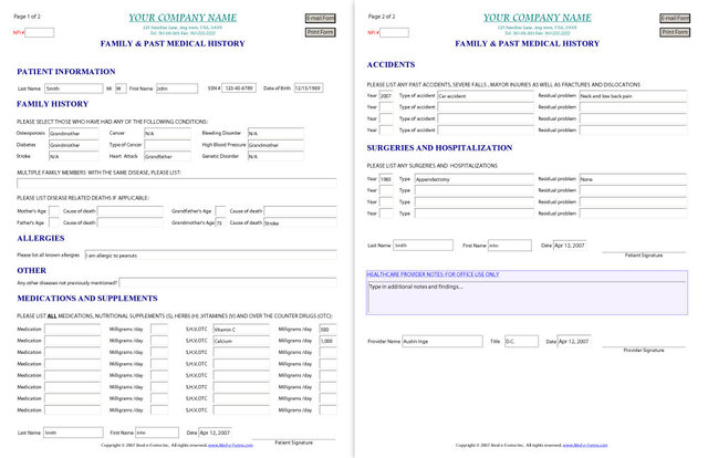 Family & Past Medical History Form – Sample