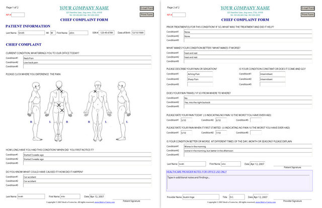 Chief Complaint Form – Sample
