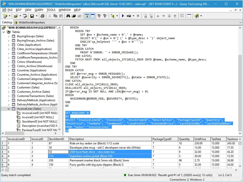 Query Tool (using ODBC) 6.1