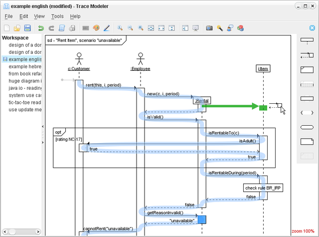 Trace Modeler for UML Sequence Diagrams
