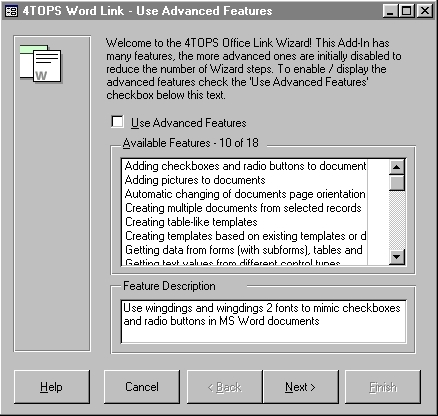 4TOPS Word Link for MS Access 2000