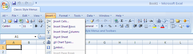 Classic Style Menus for Excel 2007