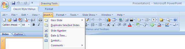 Classic Style Menus for PowerPoint 2007