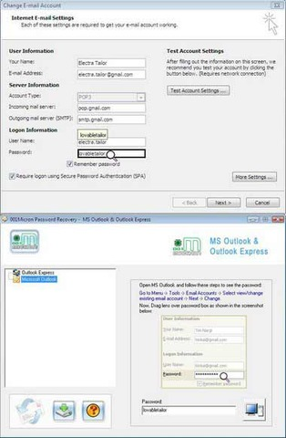 Outlook Express Password Unmask Tool