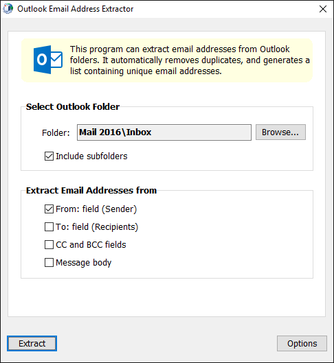 Outlook Email Address Extractor