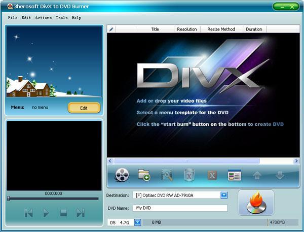 3herosoft DivX to DVD Burner