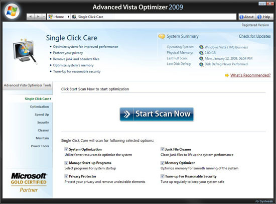 Advanced Vista Optimizer 2009