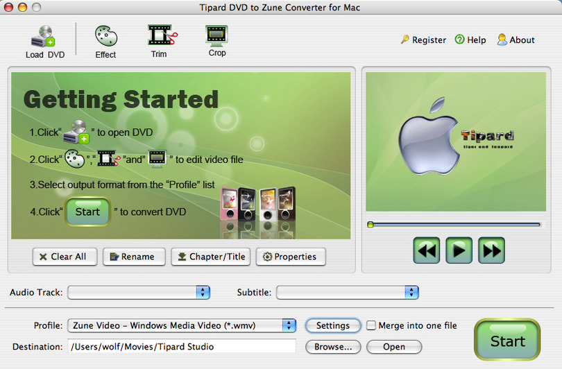 Tipard DVD to Zune Converter for Mac