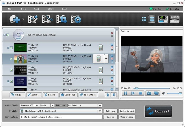 Tipard DVD to BlackBerry Converter