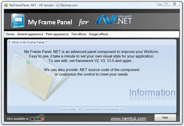 .NET My Frame Panel