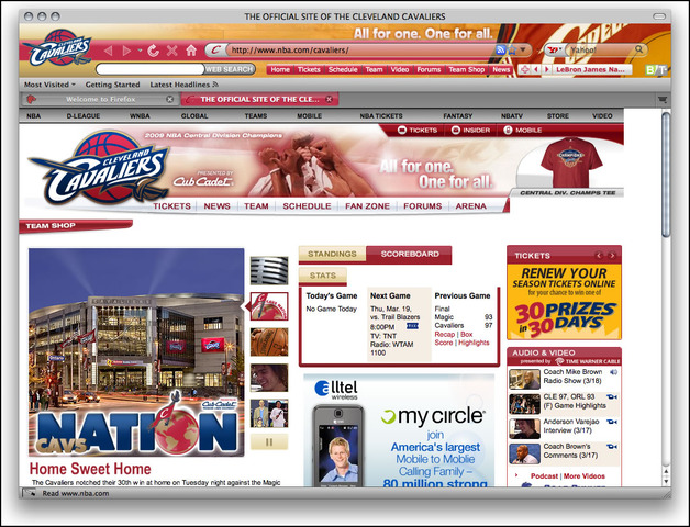 Cleveland Cavaliers Firefox Theme