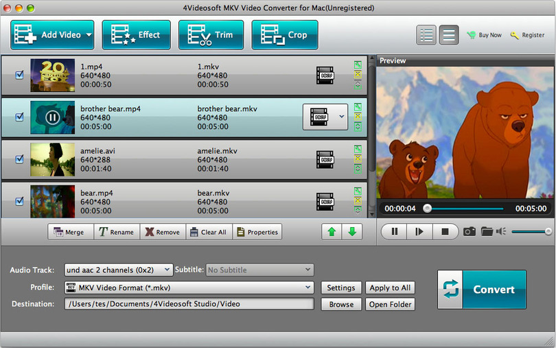 4Videosoft MKV Video Converter for Mac