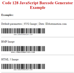 Code128 and GS1 128 JavaScript Generator