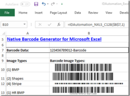 Linear Excel Native Barcode Generator