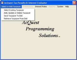 AcQuest Tax Penalty Interest Evaluator