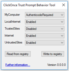 isimSoftware ClickOnce Trust Prompt Behavior Tool